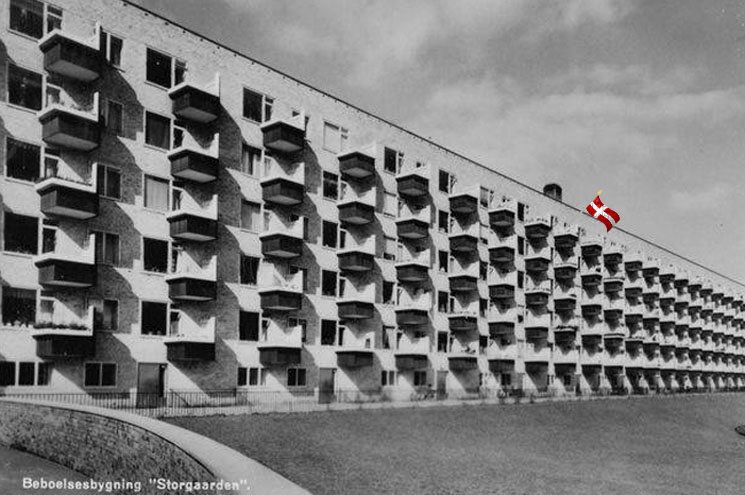 Danish housing project with flag
