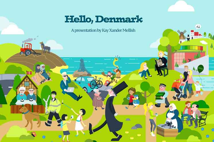 Hello Denmark Kay Xander Mellish 2018 drawing shows how Denmark has changed